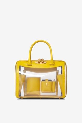 Tyler Ellis clear plastic and waterproof leather handbag