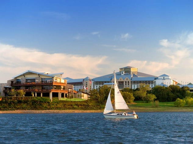 View from lake of Gaylord Texan Resort in Grapevine