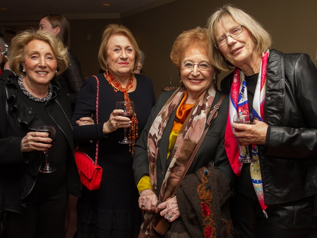 0286 Linda Ayus, from left, Zully Lufscha, Dora Kudisch and Margrit Young at Houston Friends of Chamber Music Red Violin event March 2014