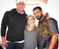JJ Watt, Kealia Ohai, Drake at Manchester United soccer game