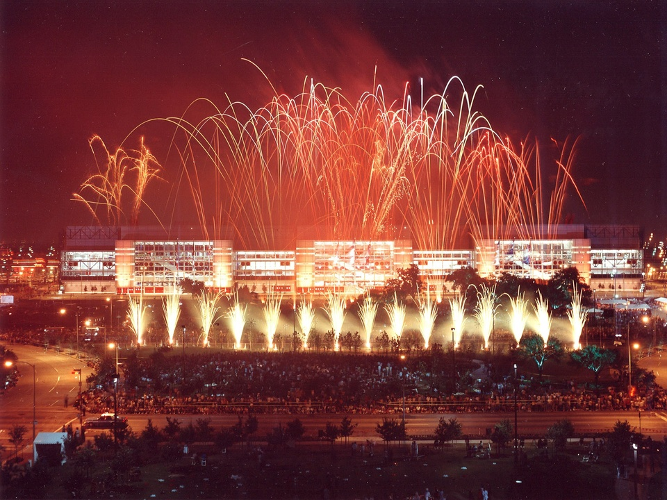 George R. Brown Convention Center, 25th Anniversary, September 2012, grand opening ceremony in 1987, fireworks