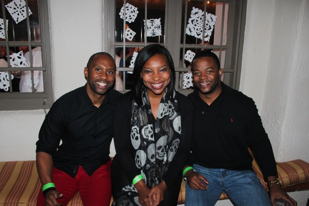 82 Byron Lundy, from left, Tiffani Wesson and Evan Hawkins at the Herman Park Conservancy Ski the Green party November 2013