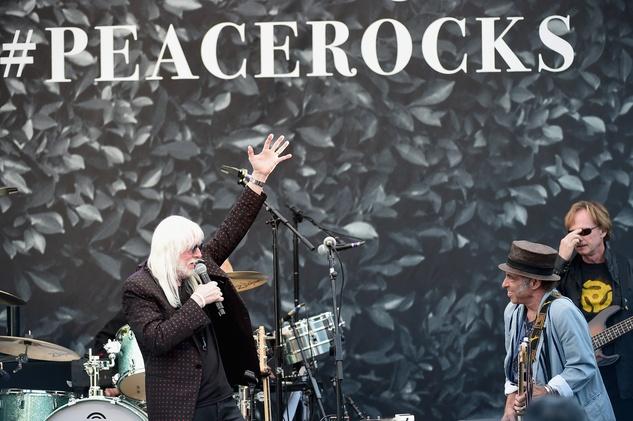 Musicians Edgar Winter, Nils Lofgren and Richard Page perform onstage during John Varvatos' International Day of Peace Celebration.