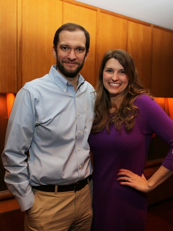 David Jackson and Ashley Zajicek at the Alley Young Professionals holiday party December 2013
