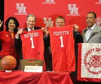 Renu Khator, Fred Hofheinz, Tilman Feritta, Kevin Sampson at press conference to rename Hofheinz Pavilion to Feritta Center