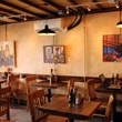 interior of Blue Dahlia Bistro with paintings