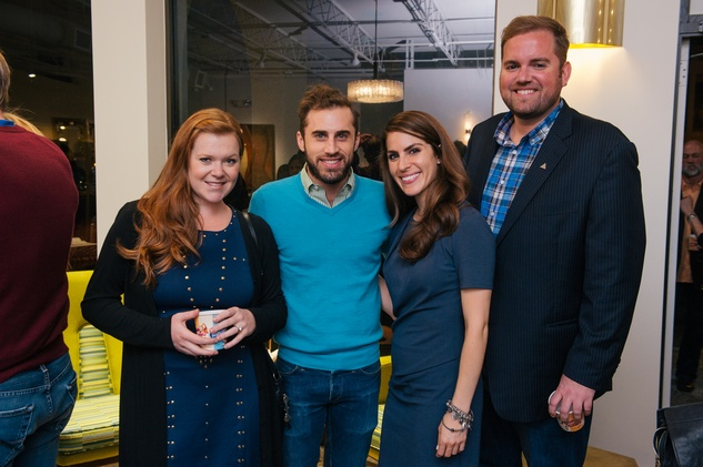 7 Keri Henry, from left, Michael Mandola, Briana Buxbaum and Jonathan Beitler at the Lynn Goode Vintage opening reception March 2014