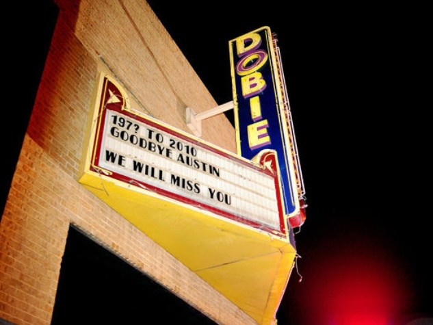 marquee from exterior of Dobie Theater in 2010