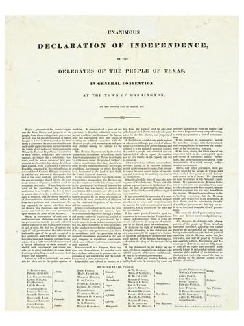 Texas Declaration of Independence, the Alamo, stolen document, November 2012