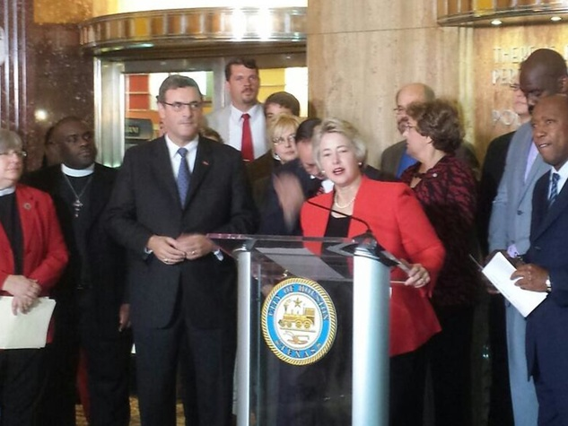 Mayor Annise Parker and Houston-area elected officials, business leaders and faith leaders in a community rally in support of the Houston Equal Rights Ordinance (HERO) May 13, 2014