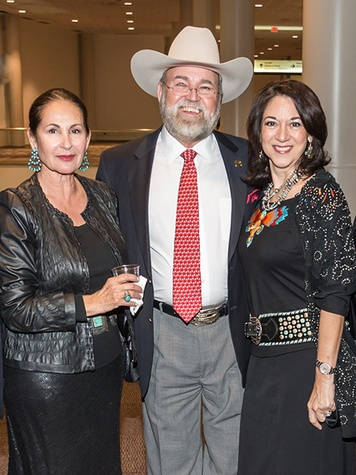 Sally Flores, from left, with Ed and Mary Alice Lester at the HLSR Hide Party January 2014