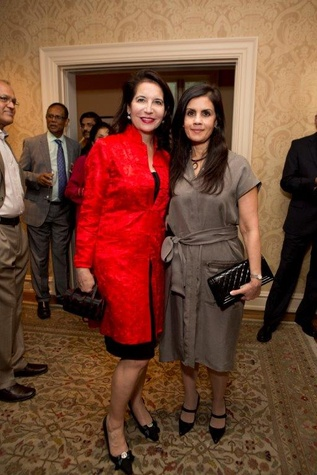 Janet Moore, left, and Azra Rauf at the Asia Society Texas Center gala kick-off party September 2014