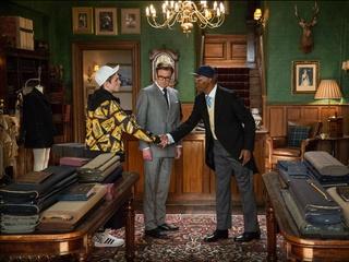 Taron Egerton, Colin Firth and Samuel L. Jackson in Kingsman: The Secret Service