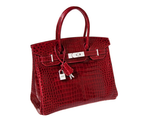 Hermes porosus handbag with white gold and diamond hardware
