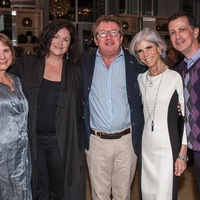15 Susanne Theis, from left, Lea Weingarten, Bruce Munro, Judy Nyquist and Barry Mandel at the Bruce Munro VIP reception at Discovery Green November 2014