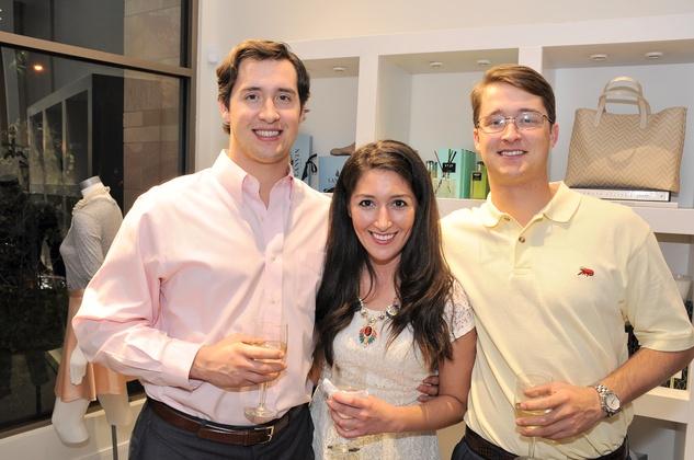Luke Fertitta, from left, Natasha Helm and Jonas Fertitta at the What We Wear Where Mobile App party December 2013