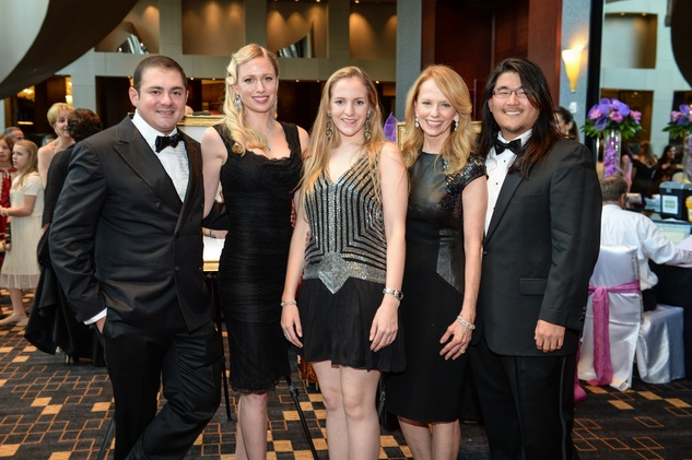 9326 Philipp Sarofim, from left, Lori Krohn, Kelly Krohn, Susan Krohn and David Lee at the Virtuosi of Houston Gala May 2014
