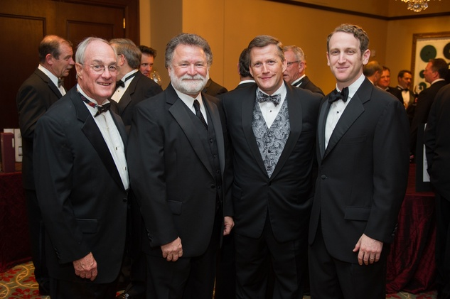 William Junell, from left, Bob Schaffer, Trey Peacock and Alex Kaplan at the Alley Theatre Wild Things Dinner October 2014