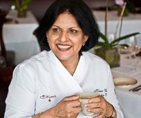 Kiran with tea cup