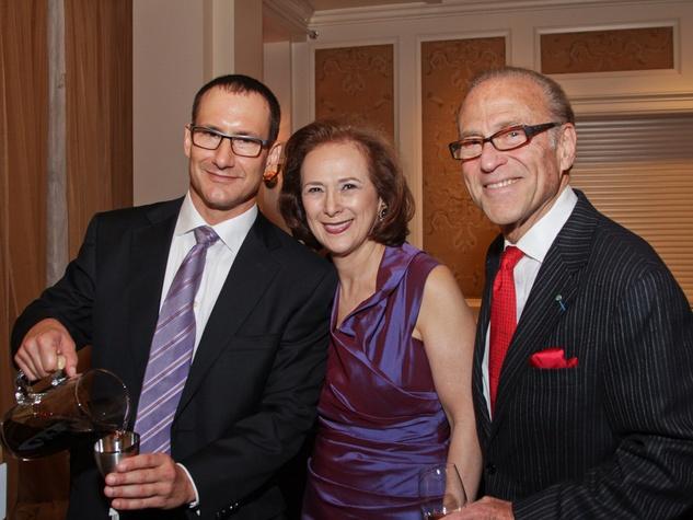Dean Putterman, from left, Franelle Rogers and Robert Sakowitz at the Best Cellars dinner.