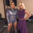 Lady Gaga backstage at NRG Stadium with Donatella Versace
