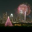 Trail of Lights tree Austin skyline