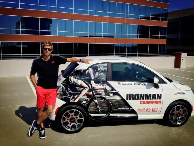 04 Marlo Ironman Texas Balazs Csoke May 2013 Balaz Csoke with Fiat 500