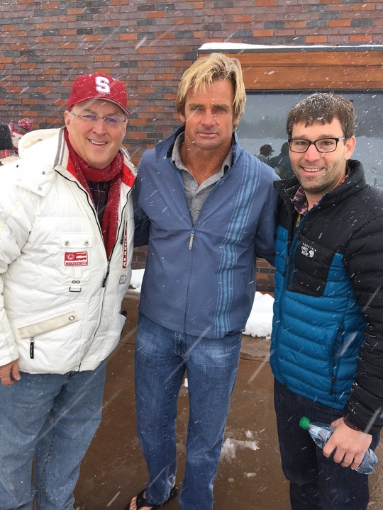 """Ron Hulme, renowned surfer Laird Hamilton and Dan La Caze at the premiere of the film on Hamilton's life- """"Take Every Wave-"""""""