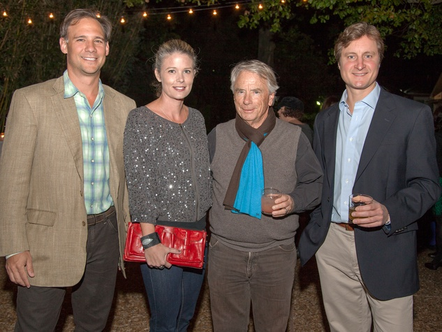 Eric and Katherine Houston, from left, Mike DeGeurin and Travis Landers at Rothko Chapel's Moonrise Party on the Plaza October 2013