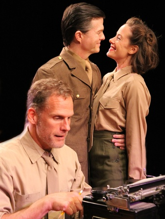 Nancy, Love and War, Main Street Theater, Love Goes to Press, November 2012, (foreground) Joe Rogers (Joe Kirkendall); (background, L-R) Major Philip Brooke-Jervaux (Joel Sandel) and Jane Mason (Crystal O'Brien)