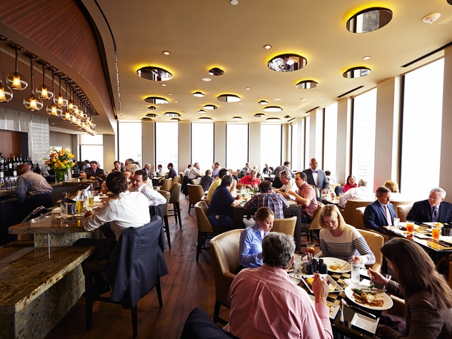 25 newly remodeled The Houston Club October 2013 dining room at lunch with crowd