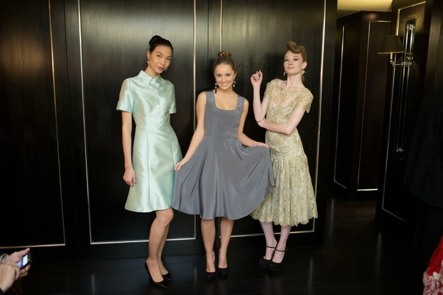 Models at Jonathan Blake trunk show in London