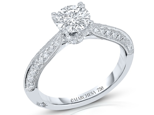 Marchesa classic solitare diamond wedding ring