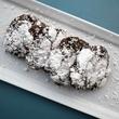 RDG + Bar Annie rich chocolate chip cookies with powdered sugar