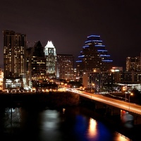 Austin skyline downtown at night