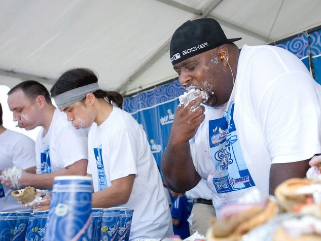 Houston Greek Festival gyro eating contest Niko Niko's in progress May 2013