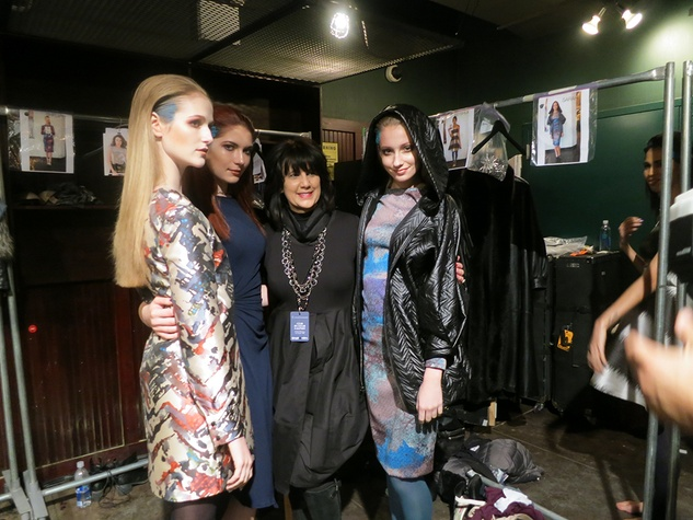 Bambi Lynn with models at Cesar Galindo Czar show February 2014