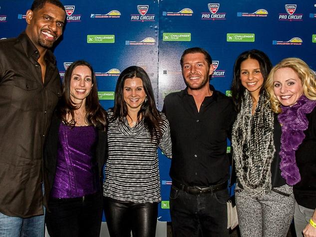 Kurt Thomas, Karen Saland, Laurie Barcy, Blake Edwards, Nichole Thomas and Angela Ruble, challenger of dallas sponsor party