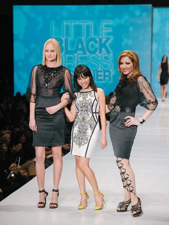 74 Fashion Houston Night 1 November 2014 Little Black Dress designer Phuong Le with muse Yasmine Haddad, mentor Sameera Faridi
