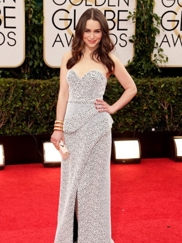 Emilia Clarke at 71st Annual Golden Globes January 2014 carrying Baird & Baird purse