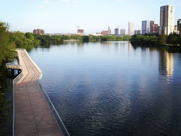 Boardwalk Trail under construction along Lady Bird Lake