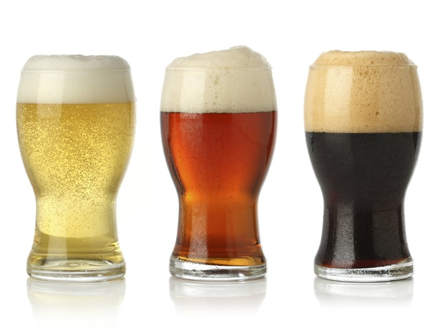 Three beers in glasses