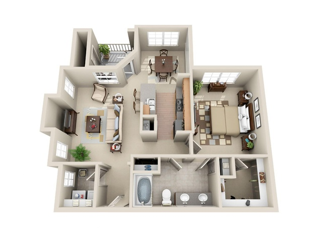 one-bedroom apartment floor plans Houston