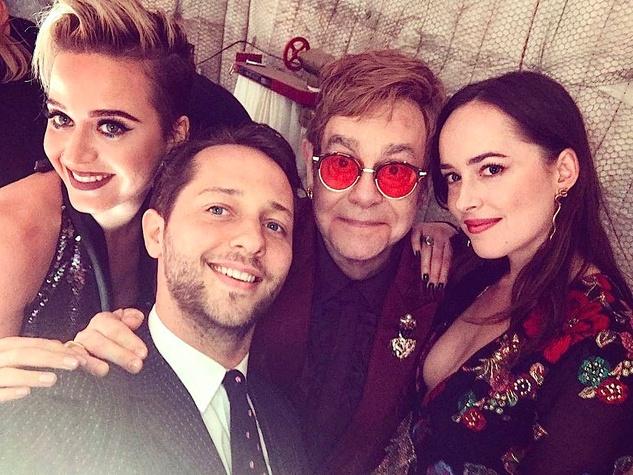 Houston, Elton John 70th birthday party, Katy Perry, Derek Blasberg, Elton John, Dakota Johnson