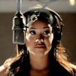 Gina Rodriguez at mic in Filly Brown movie