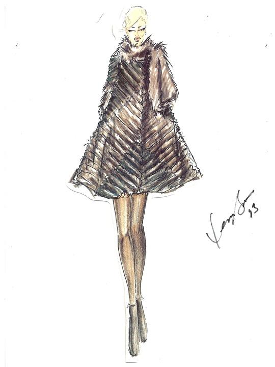 Fashion Week fall 2013, sketches, February 2013, Dennis Basso