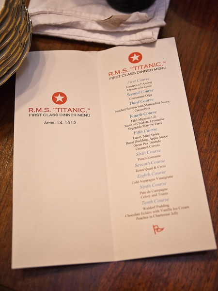 News_Mark Hanna_Titanic dinner_April 2012_menu