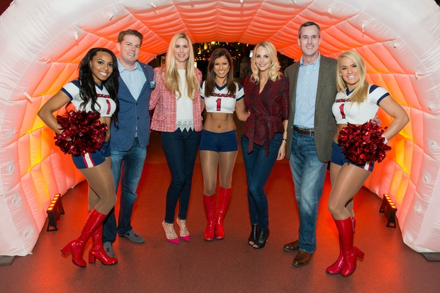 Brandon and Audrey Cochran and Kathleen and James Jennings with Texans cheerleaders at the Friday Night Lights DePelchin benefit November 2014