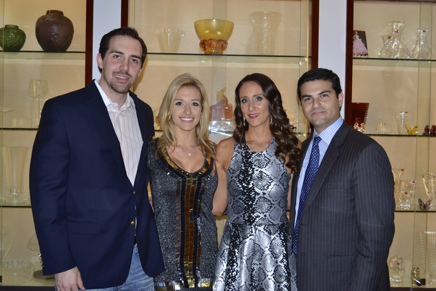 1 Aaron and Michelle Lewis, from left, and Amy and Segev Zadok at the Zadok Holiday Party December 2013