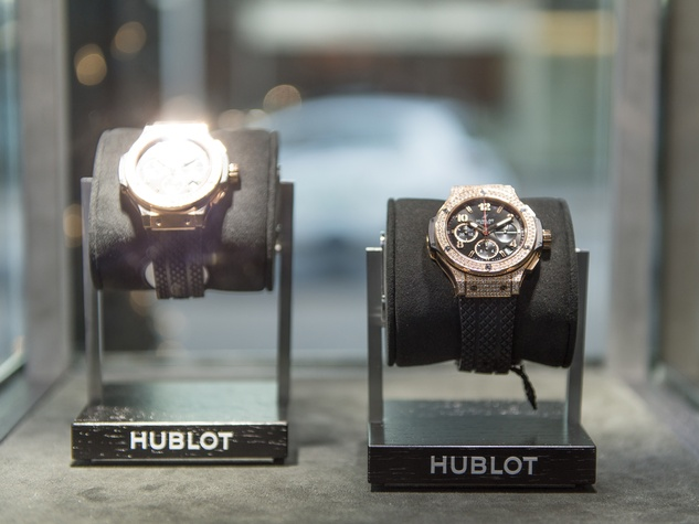 12 Hublot watches on display at the Hublot dinner party at Tony's October 2013